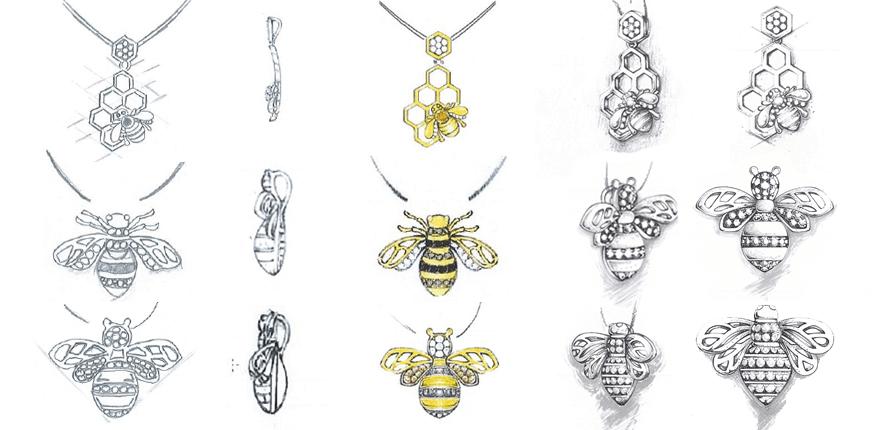 Schetsen Queen Bee sieraden